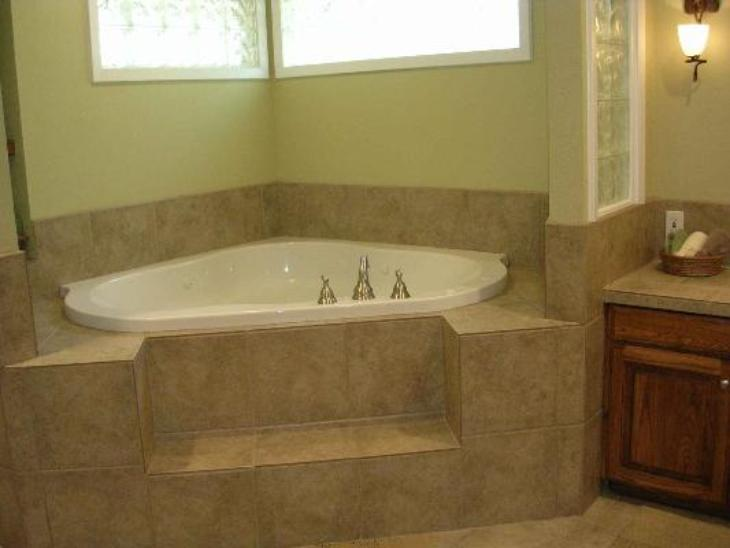 new corner whirlpool tub tile deck surround w glass block arlington bathroom addition remodel - Bathroom Remodel Corner Tub