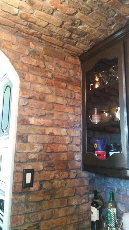 Old Chicago Brick Pavers Installed In Kitchen And Wet Bar