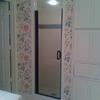 """After""  Beautiful new fresh shower w/ subway tile & glass tile mosaic"